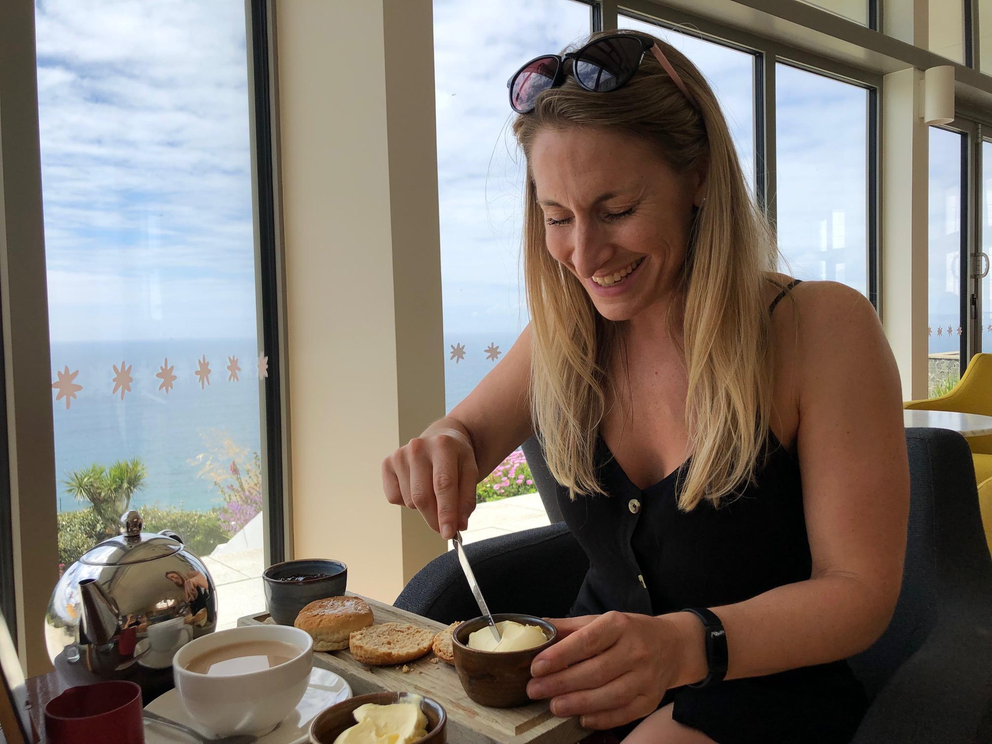 Cream tea in Cornwall.