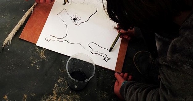 drawing with natural ink
