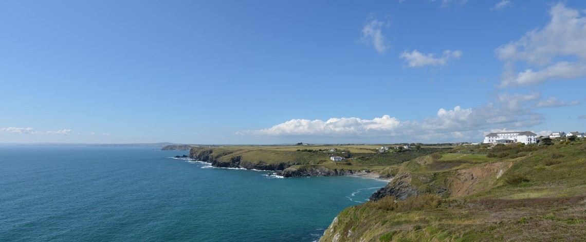 Cornish coastline featuring the Polurrian Bay Hotel