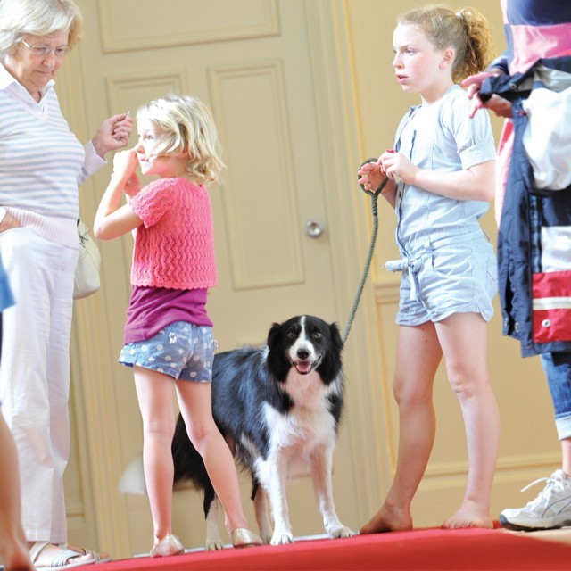 Children and dog at dog-friendly UK hotel Polurrian Bay