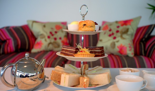 Full afternoon tea at Polurrian Bay Hotel on the Lizard Peninsula in Cornwall