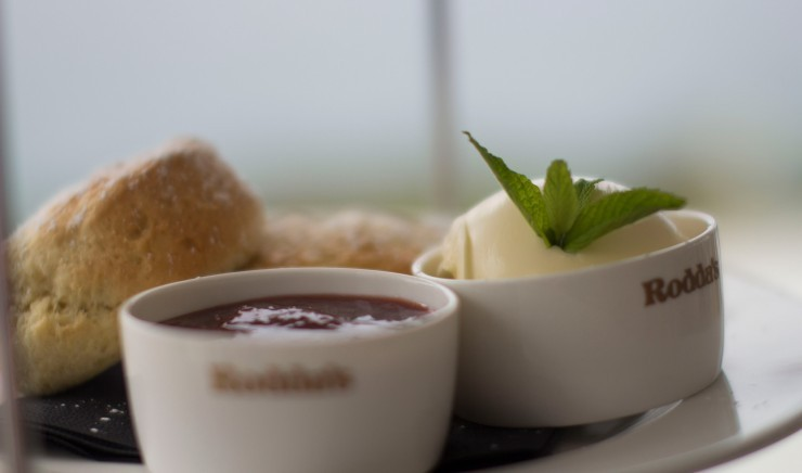 Scones with jam and Rhodda's clotted cream at the luxury family Polurrian Bay Hotel in Helston, Cornwall