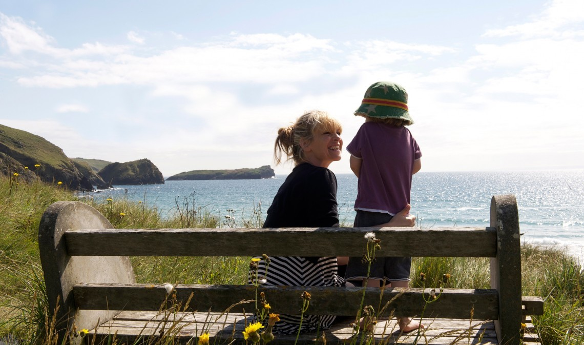 Mother and child on a family holiday in Cornwall