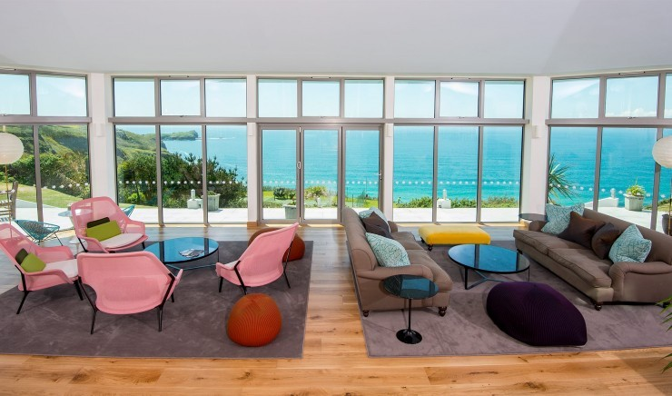 One of the dining areas at the Polurrian Bay Hotel in Cornwall, looking out over the sea