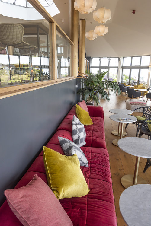 Comfortable seating within the Vista lounge.