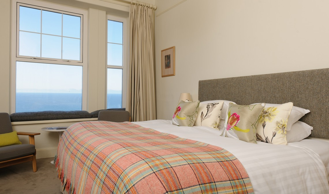 Sea view bedroom at Polurrian Bay in Cornwall