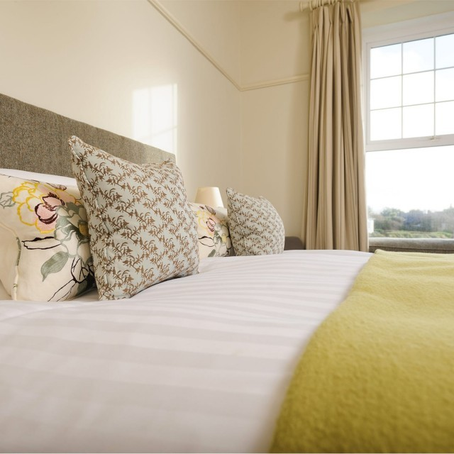 A large double family bedroom at the Cornish hotel Polurrian Bay