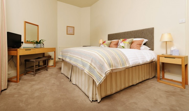 A double hotel bedroom at the Polurrian Bay Hotel in Mullion, Cornwall
