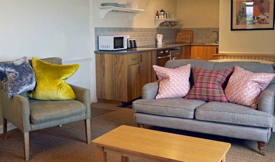 Living area at the Shearwater self-catering cottage near Helston, Cornwall