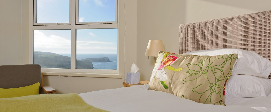 Superior sea view family room at Polurrian Bay in Cornwall