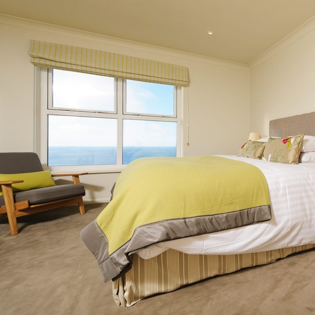 View of Cornwall's coast from a hotel bedroom at Polurrian Bay
