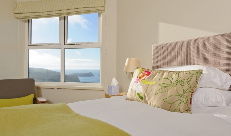 Family hotel room with sea view in Cornwall