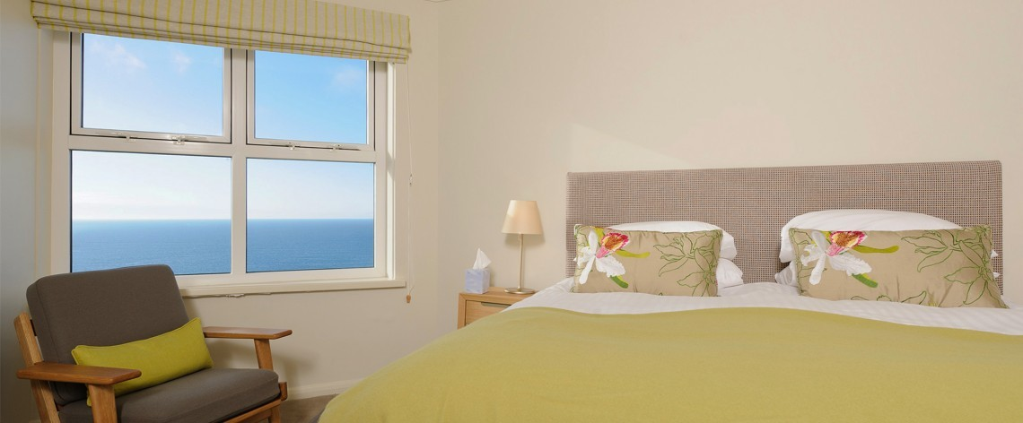Superior sea view bedroom at Polurrian Bay Hotel in Cornwall