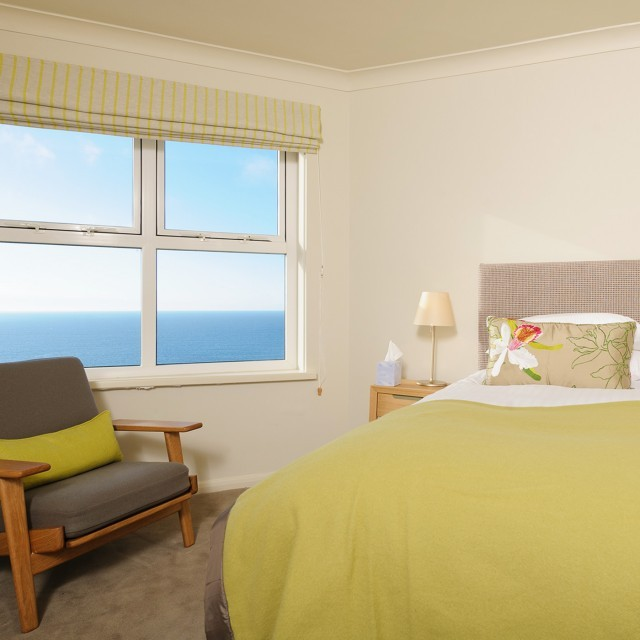 Hotel bedroom with sea view in Cornwall