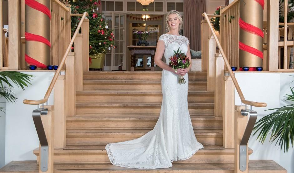 Bride at Cornwall wedding venue Polurrian Bay Hotel