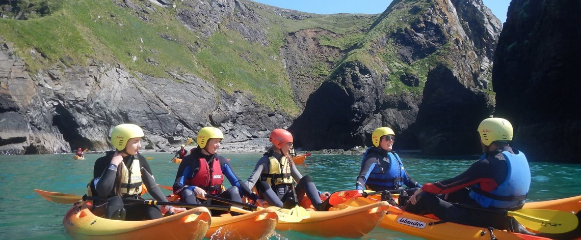 Kayaking adventures from the Polurrian Cove.